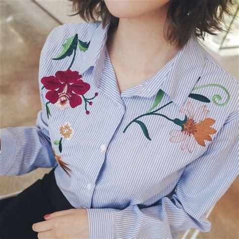 jual baju atasan kerja kemeja biru garis bordir blouse