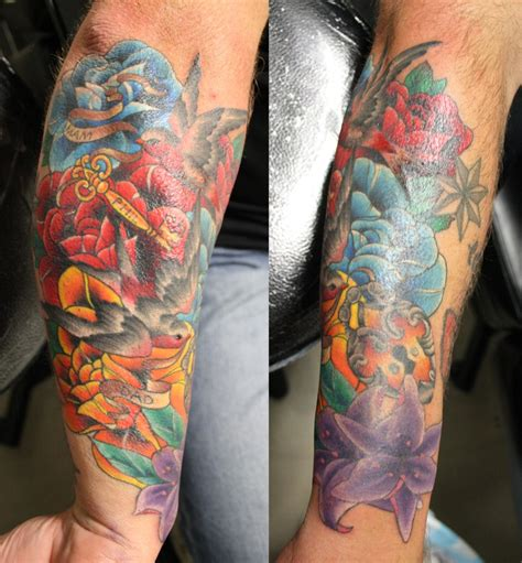 flower tattoo cover up forearm cover up tattoo on forearm by eddy lou addicted to ink