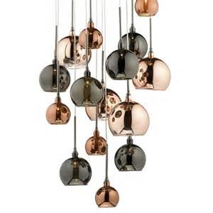 Copper Light Pendants 15lt G4 Spiral With Copper Copper And Bronze Glass15 Light Pendant Copper Copper