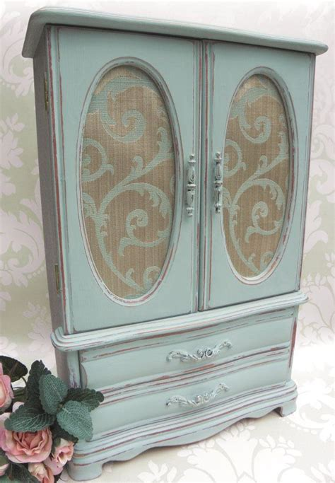 shabby chic large vintage painted jewellery box armoire