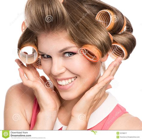 women in hair rollers woman in hair rollers royalty free stock photography