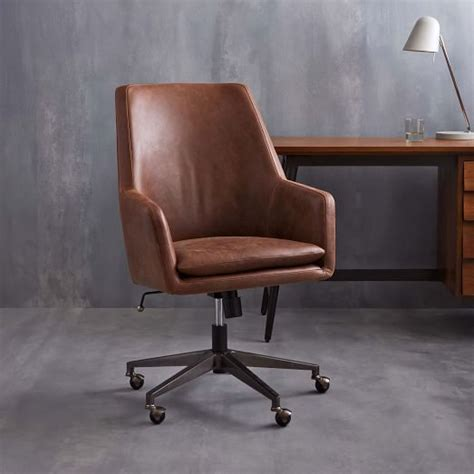 Leather Office Desk Chair Helvetica High Back Leather Office Chair West Elm
