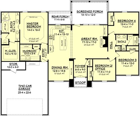 bedroom and more sf house plan 041 00082 european plan 2 000 square feet 4 bedrooms 2 bathrooms