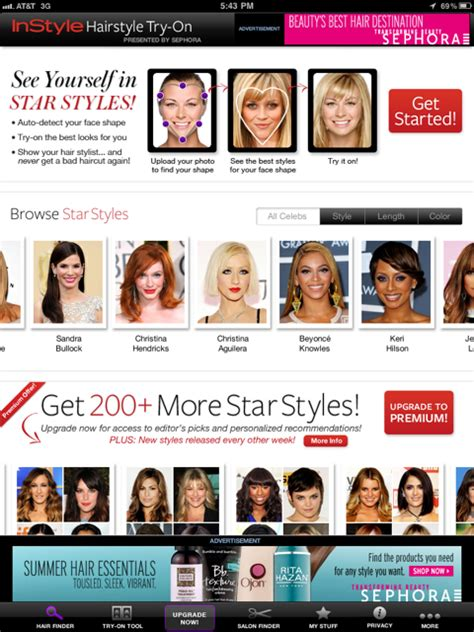 hairstyle browser instyle hairstyle try on will help women find the best