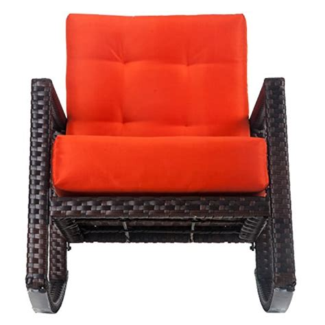 Orange Rocking Chair Cushions by Merax Cushioned Rattan Rocker Chair Rocking Armchair Chair