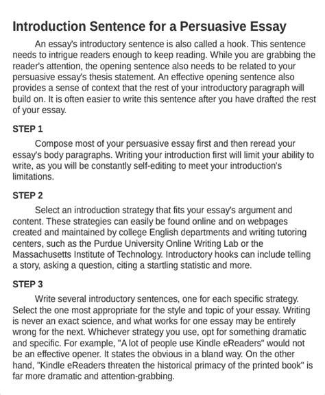 Persuasive Letter Introduction Exle Persuasive Essay Introduction Pevita