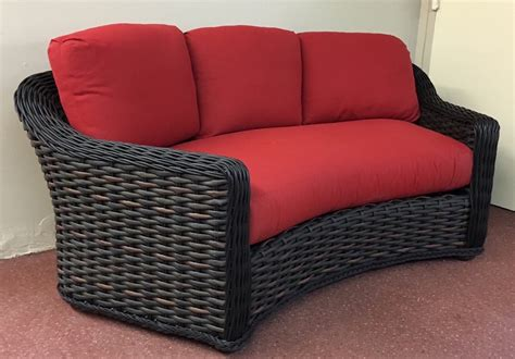 Curved Patio Sofa by Lake George Outdoor Wicker Curved Sofa