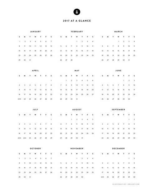 Free Yearly Calendar 2017