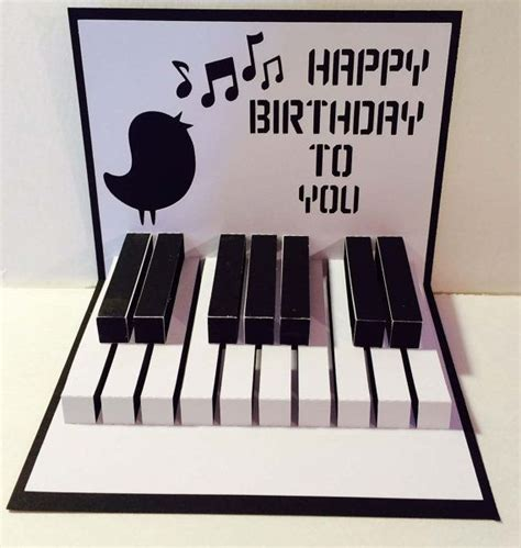 Piano Keyboard Pop Up Card Template by Happy Birthday Piano 3d Popup Svg Cutting File By