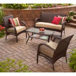 walmart outdoor patio furniture mainstays 4 wicker conversation set walmart