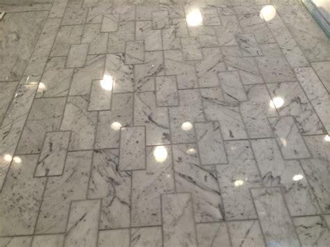Floor Works Inc by Custom Laser Cut Marble Tile Bathroom