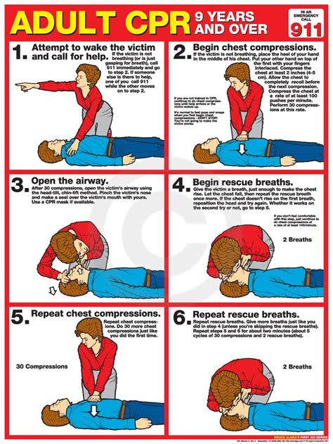printable cpr instructions adult cpr poster usa labor law posters cpr pinterest