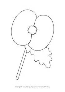 template of a poppy poppy colouring page 2