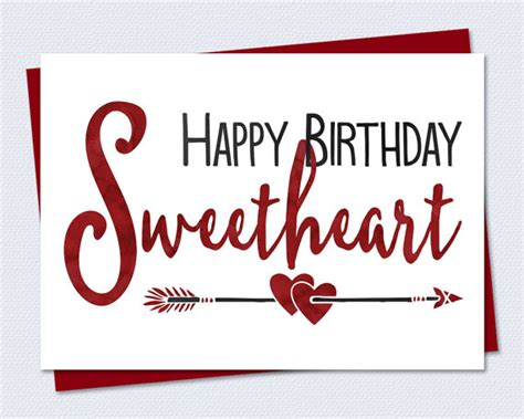 printable christmas cards for girlfriend printable birthday card happy birthday sweetheart