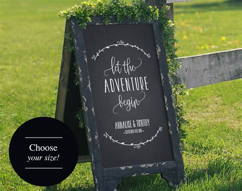 wedding ceremony welcome sign wedding welcome sign wedding sign let the adventure begin