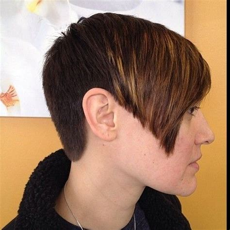 very short hair cut clippered clipper cut pixie with an inverted a line bob look