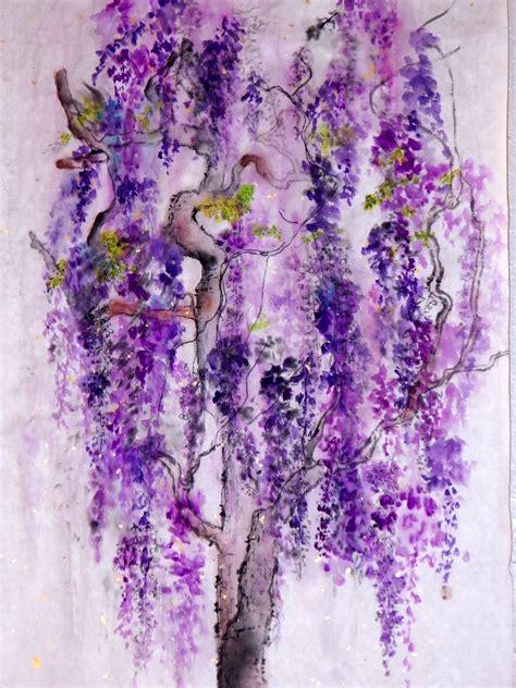debbi chan artwork falling wisteria original watercolor