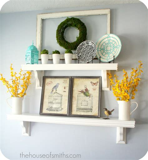 Shelf Decorating Ideas by Decorating Shelves Everyday Kitchen Shelf Decor