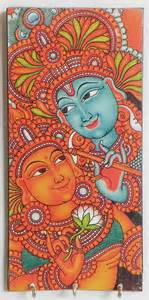 Radha Krishna Wall Murals Radha Krishna Mural Deco Painting On A Wooden Key Rack