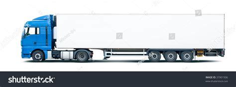 blue trailer portugues blue semi truck pulling trailer isolated on white stok