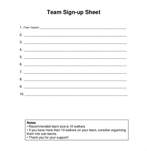 Team Sign Up Sheet Template by Sign Up Sheets 53 Free Word Excel Pdf Documents