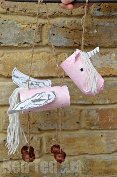 Unicorn Papercraft - toilet paper rolls unicorn marionette or puppets ted
