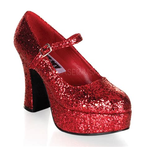 Quen Shop Heels Agrafina 2 glitter dorothy ruby slippers chunky heels drag