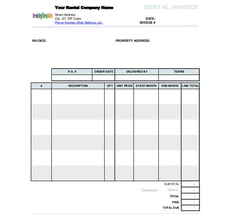 rent invoice template rental invoice template word rabitah net
