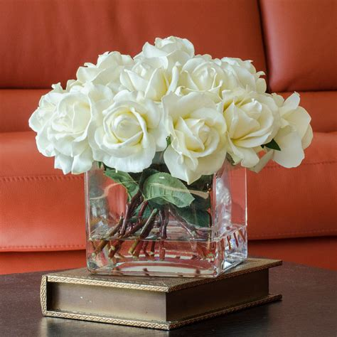 decorative floral arrangements home white real touch roses faux arrangement centerpiece for