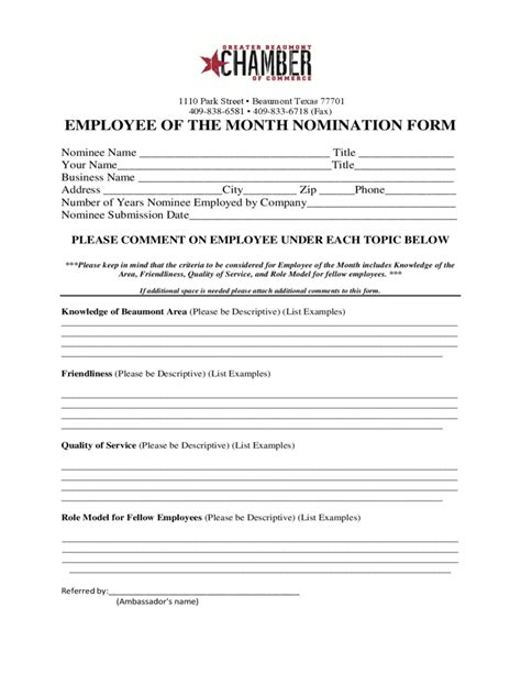 Employee Of The Month Nomination Form Texas Free Download Nomination Form Template