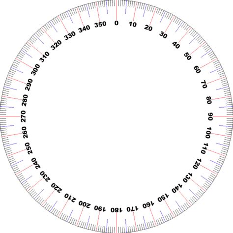 360 degree circle template pin print protractor 360 degrees on
