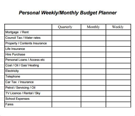 weekly budget spreadsheet template sle weekly budget 7 documents in word pdf excel