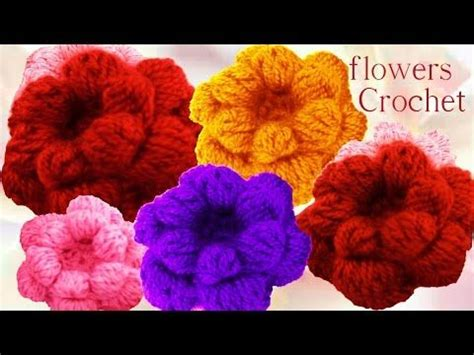 como tejer flores de 5 petalos a crochet muy facil how como tejer flores de 5 p 233 talos triples con hojas a crochet