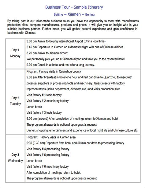 Business Travel Itinerary Template 8 Free Word Excel Pdf Documents Download Free Premium Itinerary Template Word