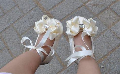 ivory ballet slippers for toddlers ivory satin toddler shoes ballet slipper flower by
