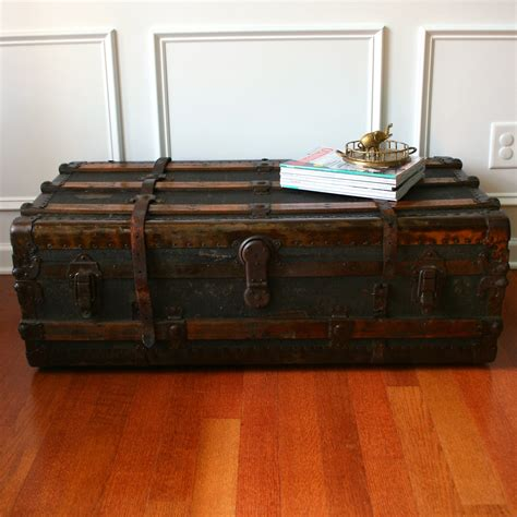 Trunk Coffee Table Antique Steamer Trunk Coffee Table Flat Top Canvas