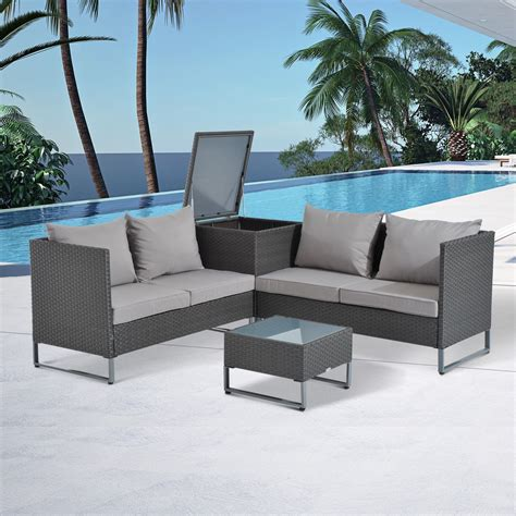 Outsunny 4 Piece Modern Sectional Patio Furniture ... Epatio Furniture