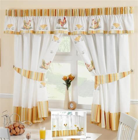 chicken kitchen curtains chickens roosters voile cafe net curtain panel kitchen curtains