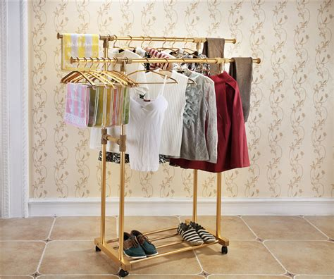 Hanger Busagantungan Baju Gantungan Fleksibel fashion best gold aluminum alloy racks stainless steel pole stand floor indoor outdoor