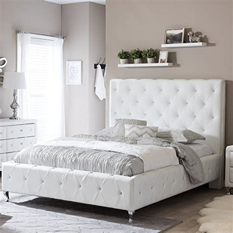 stella crystal tufted white modern bed with upholstered headboard product reviews buy baxton studio stella crystal tufted