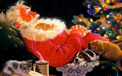 animated santa claus 6 background wallpaper