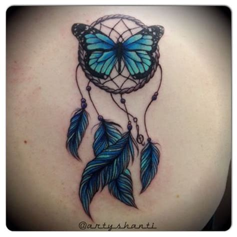 dreamcatcher tattoo with butterfly shanti anderson tattooist seawitchtattoos instagram
