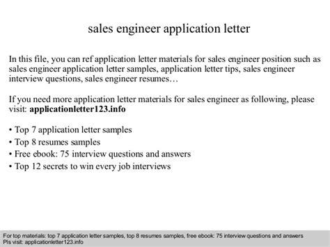 application letter sales engineer sales engineer application letter