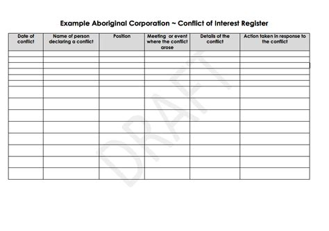 conflict calendar template conflict of interest register aboriginal health council