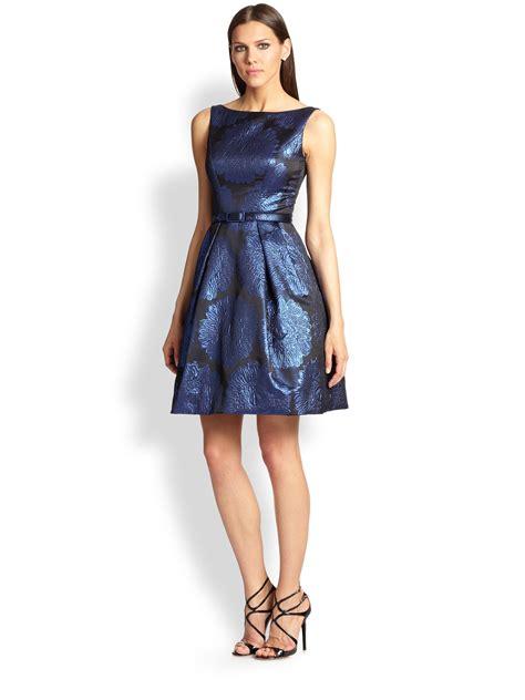 Blue Ruffled Brocade Dress theia sleeveless brocade dress in blue indigo lyst