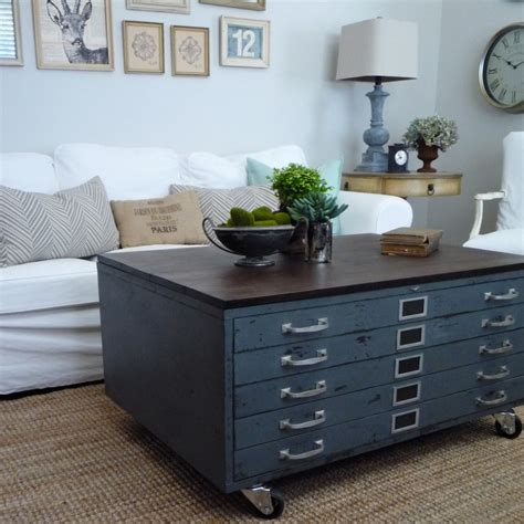 industrial coffee table with drawers vintage cole steel blueprint cabinet map drawer industrial