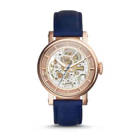 Fossil Fs0103 Navy Blue original boyfriend automatic navy leather fossil