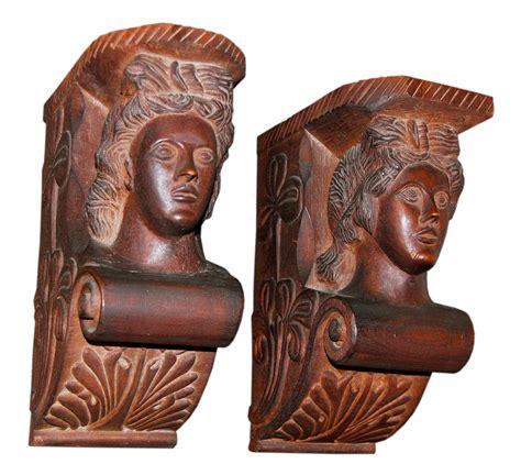 Mahogany Corbels Anonymous Works Folk Carved Mahogany Corbels