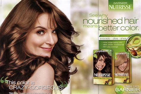 What Color Garnier Hair Color Does Tina Fey Use | tina fey actress celebrity endorsements celebrity