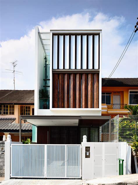 Hyla Architects planos de casa angosta y larga tres pisos construye hogar
